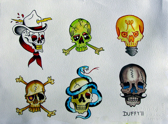Skull Flash Sheet 1 4 of a 4 piece flash set Brush Lined