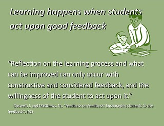 "Educational Postcard:  ""Learning happens when students act upon good feedback"""