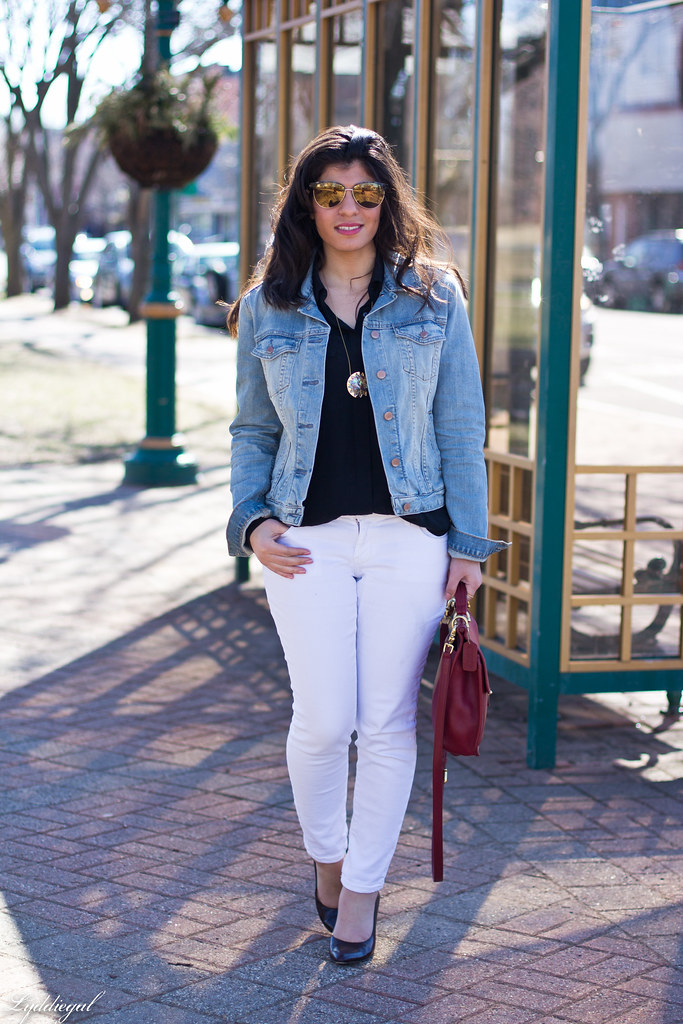 denim jacket and white jeans - Jean Yu Beauty