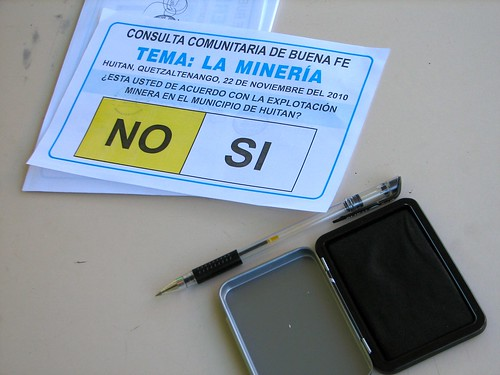 Ballot for community referendum on mining.