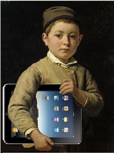 Schulknabe mit iPad, after Albert Anker