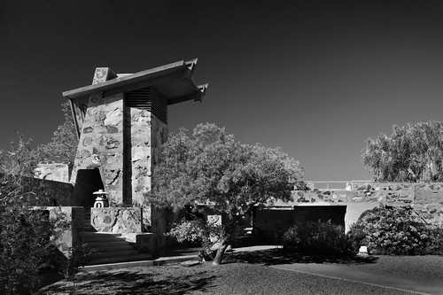 taliesinwest franklloydwright fllw architecture architect scottsdale arizona phoenix desert cactus camp school foundation landscape nature rubble masonry wall view perspective office studio campus historic building structure tour tower bell water pool blackandwhite bw exterior stairs steps canoneos50d canon eos 50d efs1022mm efs 1022mm musicpavilion organicarchitecture winterhome taliesin franklloydwrightfoundation
