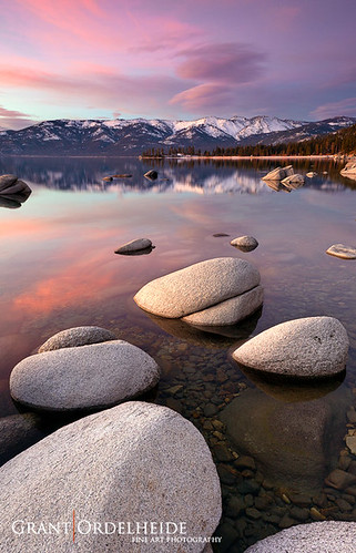 pink winter sunset usa lake snow mountains color reflection water vertical clouds landscape rocks north january tahoe peaceful sierra east clear boulders serenity serene eastern heavenly northstar 2011 grantordelheide