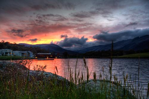 sunset sky cloud mountain lake reflection water grass rock evening efs1785mmf456isusm lakecrackenback