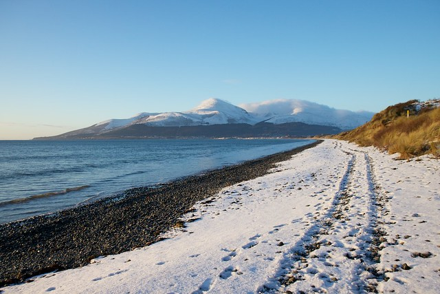murlough beach, mourne mountains in winter