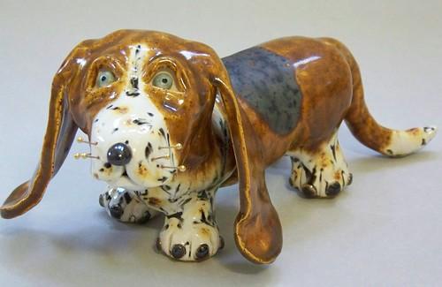 Ceramic Basset Hound Sculpture
