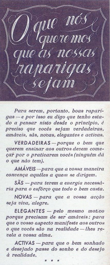 Mocidade Portuguesa Feminina, Nº 60, Abril 1944, O Que Nós Queremos que as Nossas Raparigas Sejam