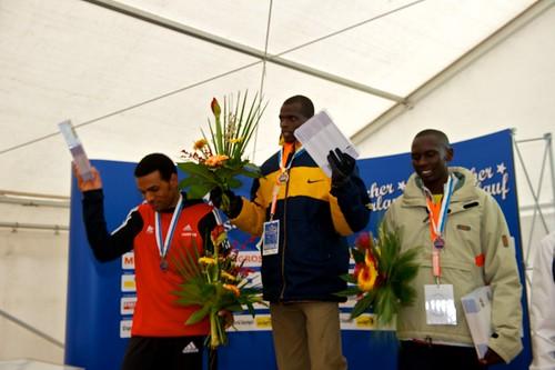 Siegerehrung Elite Männer und Frauen - Zürcher Silvesterlauf 2010