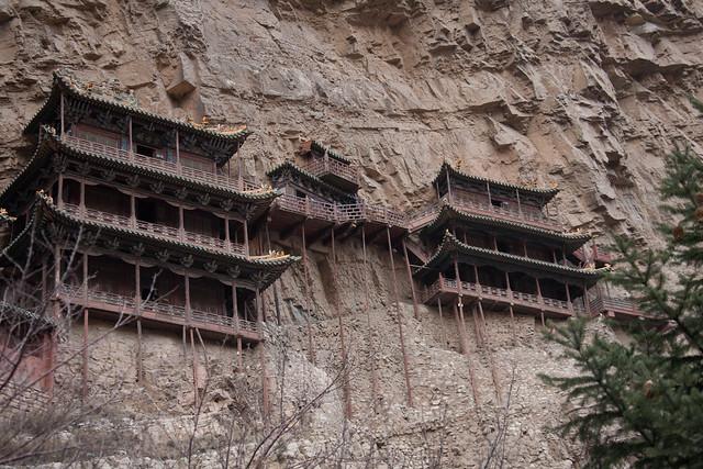 El templo colgante de Xuan Kong Si, cerca del Monte Heng, en la Provincia de Shanxi, China