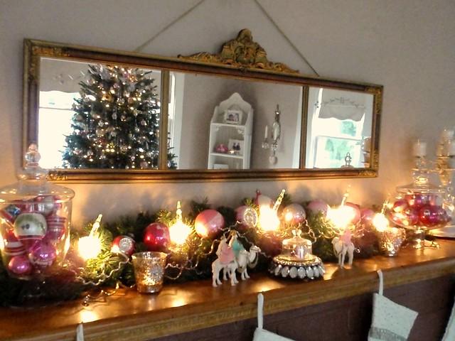 Vintage Christmas Mantel Decorations : Christmas mantel decor love my antique piano mirror