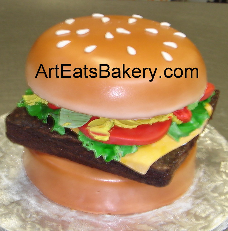 3d Wendys Cheeseburger Birthday Cake With With Fondant Tomatoes