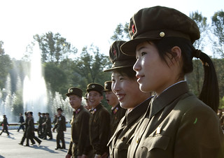 Smiling soldiers - Pyongyang North Korea