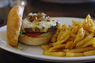 Mushroom Cheese Burger with Chili Fries