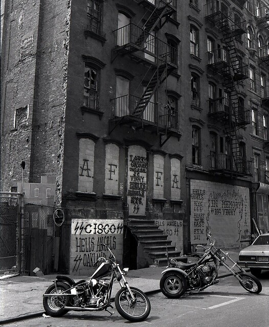 Choppers in front of the Hells Angels club house, 77 E. 3rd Street (NYC, 1982)