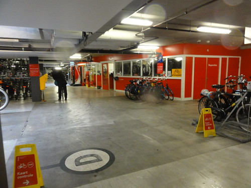 Underground bike parking at Amsterdam Zuid station
