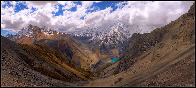 View into the Quebrada Sarapococha from Cerro San Antonio - Day 5 on the Huayhuash Trek in Peru