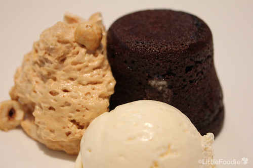 Steamed chocolate pudding with hazelnut toffee and creme fraiche ice cream