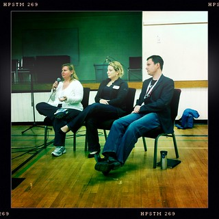The blogger panel with @raincoaster @miss604 @mikevardy #wcv11