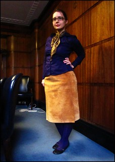24.1.11: purple shirt and suede skirt