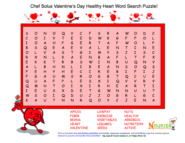 Print Valentine Healthy Word Search Puzzle