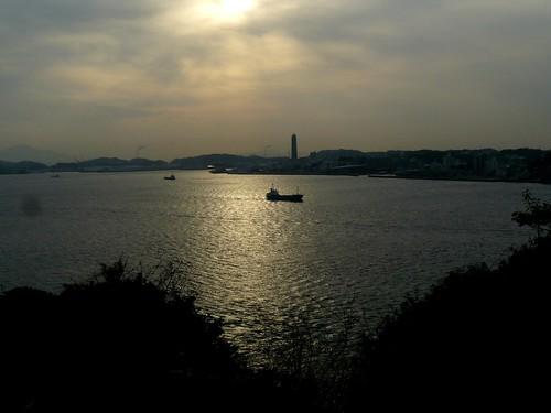 sunset sea japan boats february mojo kyushu kitakyushu dld 2011