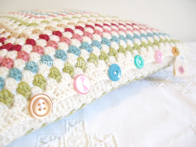Miss Esme, button detail, crochet cushion by Emma Lamb