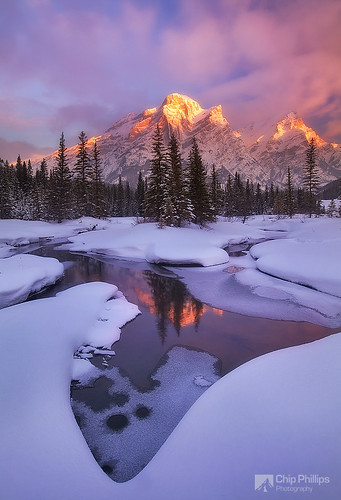 pink winter snow canada ice sunrise kananaskis reflecting frozen country rocky mount pools alberta banff kidd moutains alpenglow colorphotoaward bratanesque