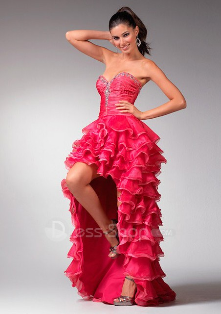 Organza Strapless Sweetheart Neckline A Line Cheap Red 2011 Prom Dress with