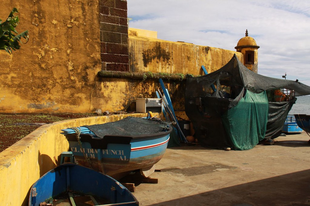 The old fort and fishing boats