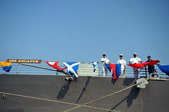 CHENNAI, India (March 16, 2011) Chief Fire Controlman Seth Rusackas, left, Chief Gunner's Mate Rico Barkell, Lt. Dornelieo Waits and Yeoman 3rd Class Paseuth Emanivong watch Sailors on the pier from the Arleigh Burke-class guided-missile destroyer USS Decatur (DDG 73) after the ship pulled into Chennai, India for a port visit. (U.S. Navy photo by Mass Communication Specialist 1st Class Jennifer A. Villalovos)