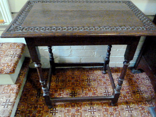 D390 From C19 Victorian England, with Tudor revival carving, small side table of English Oak