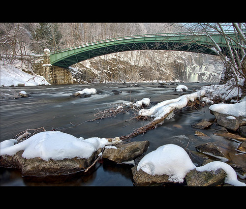 new york bridge winter snow ny cold ice river rocks stream dam croton hudson hdr daaaamn