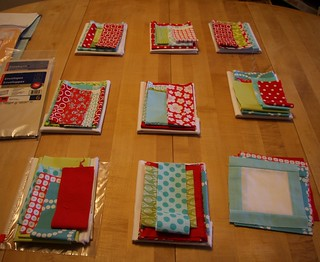 Fabric ready to be sent to Red & Aqua Bee members