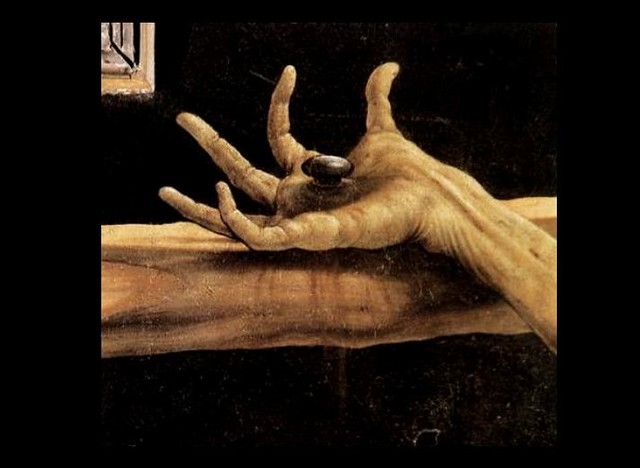 [ G ] Mathis Grünewald - Isenheim Altarpiece (c. 1515) Detail (Jesus Hand & the Nail) from Flickr via Wylio