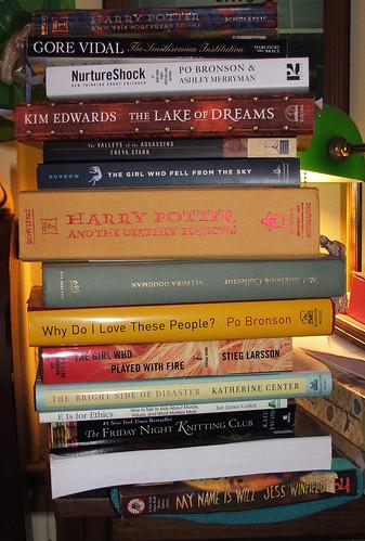 Bedside book stack