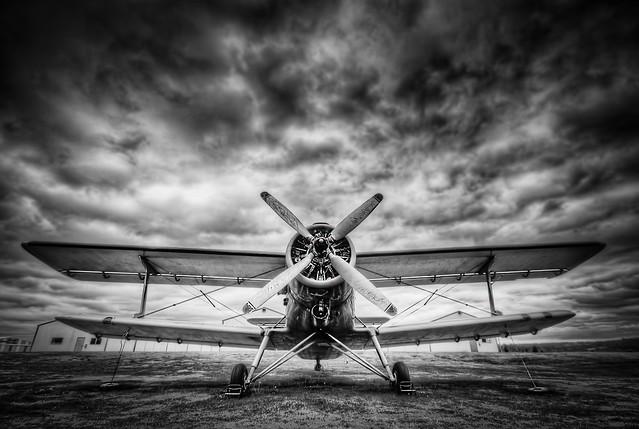 Black & White Bi-Plane