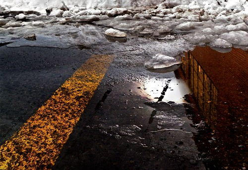 road street city light urban snow canada color colour wet reflections landscape puddle spring melting quebec pavement montreal grunge thaw marianna olumpus armata mariannaarmata tgamphotodeskspring2011