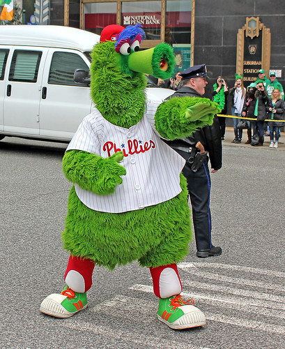 Phillie Phanatic at St. Patrick's Day Parade