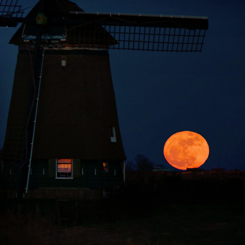 SuperMoon rising at our Dutch glory