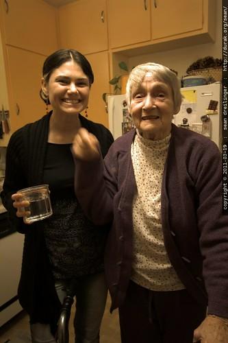 rachel & grandma joan in the kitchen before bed
