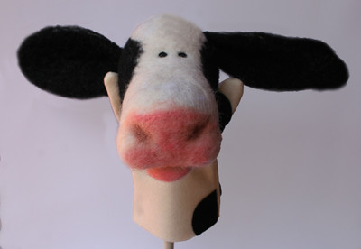 needle felted cow puppet