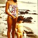 Neeta and 4 yr. old Rachel on the beach at Carlsbad, CA 1980