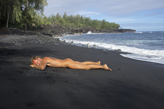 naturist 0003 Kehena black sand beach, Hawaii, USA