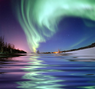 Aurora Borealis, the colored lights seen in the skies around the North Pole, the Northern Lights, from Bear Lake, Alaska