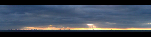 city morning water skyline clouds sunrise