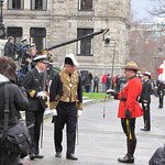 Lieutenant Governor Steven Point arrives to deliver the throne speech