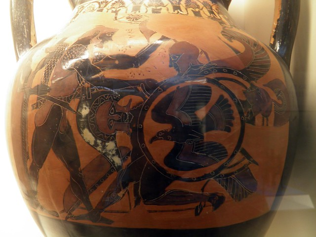Black-figured amphora (jar) Herakles, watched by Athena, kills the triple-bodied monster Geryon, Greeks in Italy (Room 73), British Museum