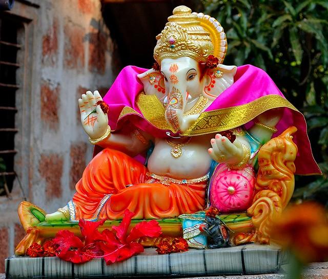 Ganpati bappa morya flickr photo sharing for Background decoration for ganesh festival
