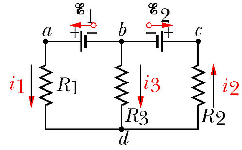 potential difference between points d and c in circuit