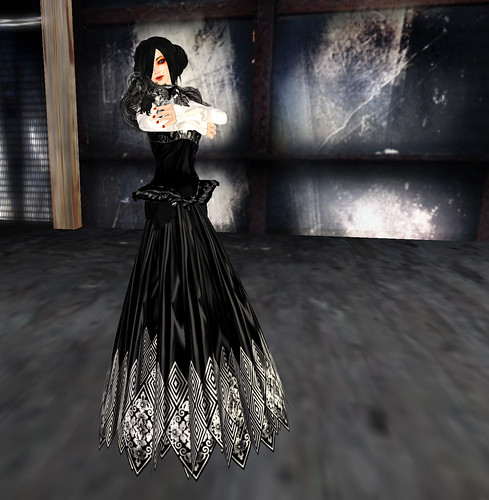 black and white dress long skirt